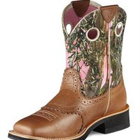 Ariat Fatbaby Women's Brown/Pink Camo Cowgirl Boots