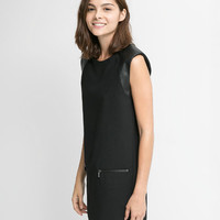 Black Sleeveless Double Pocket Dress with Leather Shoulder Pads