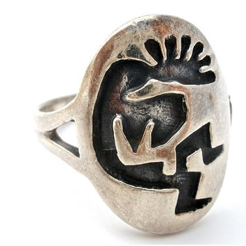 Vintage Kokopelli Ring Sterling Silver Size 8