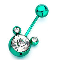 Green Mickey Mouse Head With April Birthstone Clear Crystal Round Belly Button Ring, Belly Rings, New Year Belly Rings | Pugster.com