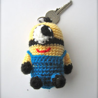 Minion, Despicable Me, minion key chain, toy keychain,crochet key chain, gift for girl ,boy, birthday