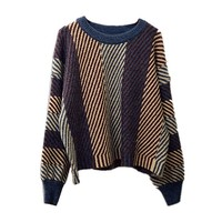 Johnature Harajuku Pullover Sweaters For Women Autumn New Striped O-Neck Long Sleeve Patchwork Casual Vintage Women Sweaters