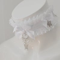 Princess bride - white lolita neko girl kitten pet play pleated lace collar with fairy butterfly pendant
