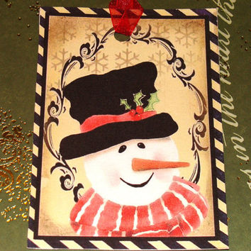 Jolly Snowman Tags - Set of 6 - Vintage Snowmen - Christmas Tags - Vintage Christmas - Holiday Tags - Thank Yous - Xmas Tags,Ready to Ship