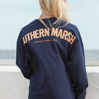 Rebecca Long Sleeve Jersey in Navy with Orange Gingham by Southern Marsh