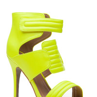 Neon Yellow Faux Leather Quilted Single Sole Heels