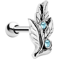 Silver 925 Aqua Gem Leaf Cartilage Tragus Earring | Body Candy Body Jewelry
