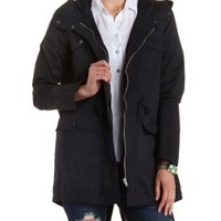 Long Line Hooded Anorak Jacket by Charlotte Russe