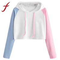 Feitong Women Sweatshirts Hoodies Casual Patchwork Long Sleeve Cropped Jumper Pullover Crop Tops sudadera mujer jumper 2017 New