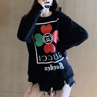 """""""Gucci"""" Women Fashion Four-leaf Clover Letter Print Long Sleeve Sweater Round Neck Tops"""