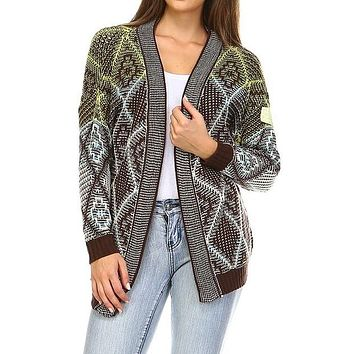 Open Front brown white green Sweater cardigan