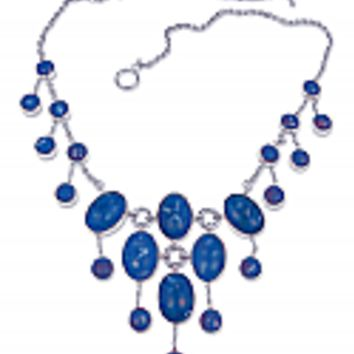 Sterling Silver and Lapis Lazuli Cascading Bib Necklace