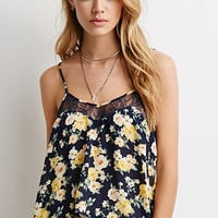 Lace-Paneled Floral Print Cami