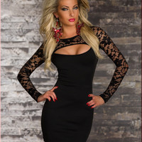 Black Long Sleeve Lace Mesh Chest Cut Out Bodycon Mini Dress