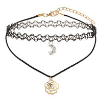 Moon And Flower Charm Chokers - Accessories