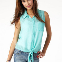 Tie Front Solid Tank