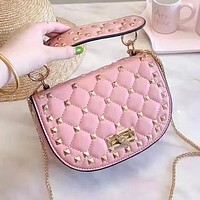 Valentino Fashion Women Shopping Bag Leather Rivet Handbag Shoulder Bag Satchel Pink