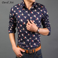 Free Shipping New 2016 Spring Mens Dress Shirts Floral Fashion Casual Slim Fit Long Sleeved Shirt 14 Colors Size M-XXXL CH04