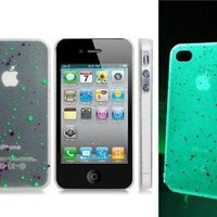 ETOU Dot Print Glow-in-the-Dark Plastic Case for iPhone 4/4S (Transparent)
