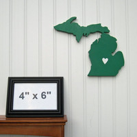 """Michigan State Spartans """"State Heart"""" wall art, handcrafted wood featuring official team colors"""