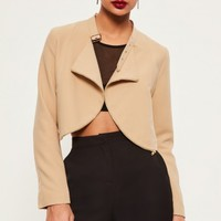 Missguided - Nude Zip Detail Buckle Neck Cropped Jacket