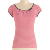 ModCloth Nautical Mid-length Cap Sleeves The Cutest Cruise Top in Red Stripe
