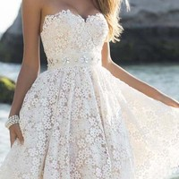 White Floral Lace Collarless Party Polyester 8th Grade Graduation Party Mini Dress