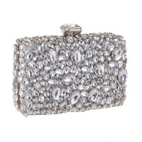 chunky crystal evening bag purse prom bridal clutch handbag