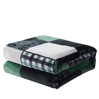 Tache Forest Green Plaid Flannel Throw Blanket (4023)