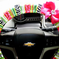 Zebra Stripe Steering Wheel Cover with Bow and Bling
