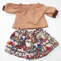 """Handmade Bitty Baby Clothes Twin 15"""" Doll Girl Baby Doll Skirt Peasant Knit T shirt 2 pc Outfit Brown Teddy Bear Print Fall Autumn Harvest"""