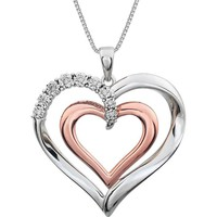 "Sterling Silver & 14k Rose Gold .06 CTW Diamond Heart 18"" Necklace"