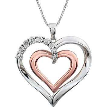"""Sterling Silver & 14k Rose Gold .06 CTW Diamond Heart 18"""" Necklace"""