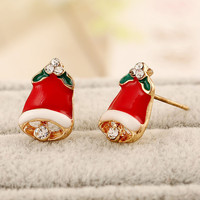 Red Christmas Bell Shape Earrings with Rhinestones