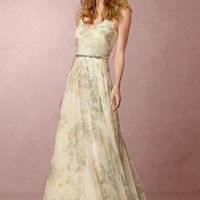 Inesse  Wedding Guest  Wedding Guest Dress by Anthropologie x BHLDN in Ivory Sage Multi Size: