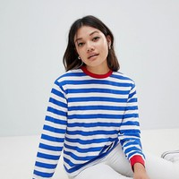 ASOS DESIGN t-shirt with long sleeve in stripe with contrast collar and cuffs at asos.com
