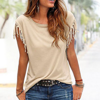 Knotted Tassels Plain Casual T-Shirt