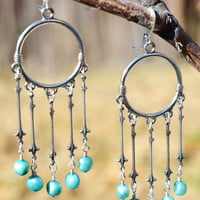 Silver and Blue Freshwater Pearl Hoop Earrings