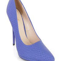 Cobalt Blue Pointed Toe Single Sole Pump High Heels Faux Leather