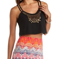 Wooden-Beaded Strappy Swing Crop Top by Charlotte Russe