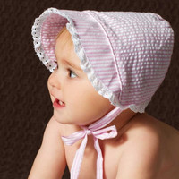 Sweet Pink and White Seersucker Bonnet for Baby Girls