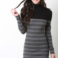 Ribbed Knit Turtle Neck Stripped Dress