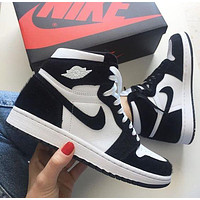 NIKE Air Jordan 1 Mid Digital Pink AJ1 Goddess pink shoes Black&White