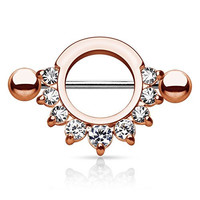 Semi-Circle Rose Anodized Stainless Steel Nipple Ring Shield