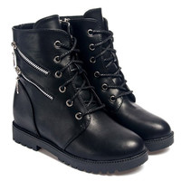 Mid-Calf Zippered PU Boots with Metal