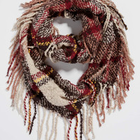 ultra soft plaid infinity scarf with fringe | maurices