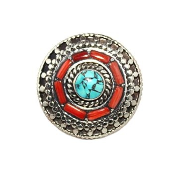 double round coral ring