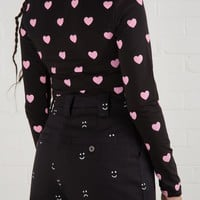 Lazy Oaf Pink Hearts Roll Neck Top
