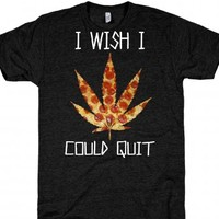 Athletic Black T-Shirt | Funny Pizza Weed Shirts