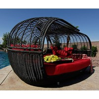 Patio Furniture | Handcrafted Outdoor Wicker Daybed | For Better Homes and Gardens | Rose Garden Seating | Loveseat Blue